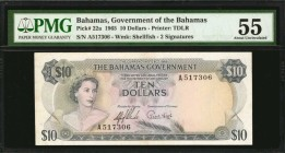 BAHAMAS. Bahamas Government. 10 Dollars, 1965. P-22a. PMG About Uncirculated 55.
