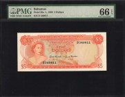 BAHAMAS. Monetary Authority. 5 Dollars, 1968. P-29a. PMG Gem Uncirculated 66 EPQ.