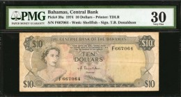 BAHAMAS. Central Bank. 10 Dollars, 1974. P-38a. PMG Very Fine 30.