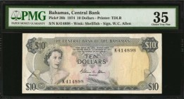 BAHAMAS. Central Bank. 10 Dollars, 1974. P-38b. PMG Choice Very Fine 35.