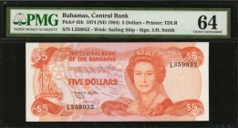 BAHAMAS. Central Bank. 5 Dollars, 1974. P-45b. PMG Choice Uncirculated 64.