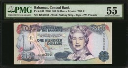 BAHAMAS. Central Bank. 100 Dollars, 2000. P-67. PMG About Uncirculated 55.