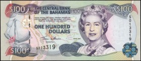 BAHAMAS. Central Bank. 100 Dollars, 2000. P-67. About Uncirculated.