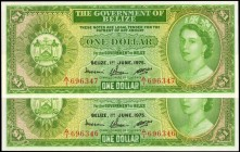 BELIZE. Government of Belize. 1 Dollar, 1975. P-33b. Consecutive. Uncirculated.