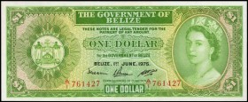 BELIZE. Government of Belize. 1 Dollar, 1975. P-33b. Choice About Uncirculated.