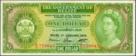 BELIZE. Government of Belize. 1 Dollar, 1976. P-33c. About Uncirculated.