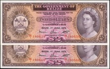 BELIZE. Government of Belize. 2 Dollars, 1975. P-34b. Consecutive. Uncirculated.