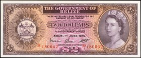 BELIZE. Government of Belize. 2 Dollars, 1975. P-34b. About Uncirculated.