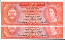 BELIZE. Government of Belize. 5 Dollars, 1975. P-35a. Consecutive. Uncirculated.
