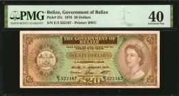 BELIZE. Government of Belize. 20 Dollars, 1976. P-37c. PMG Extremely Fine 40.