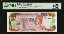 BELIZE. Central Bank of Belize. 20 Dollars, 1987. P-49b. PMG Gem Uncirculated 65 EPQ.