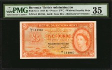 BERMUDA. British Administration. 5 Pounds, 1957. P-21b. PMG Choice Very Fine 35.