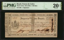 BRAZIL. Trocos de Cobre. 1 Mil Reis, ND (1833). P-A151a. PMG Very Fine 20 Net. Tape Repairs, Ink Burn.