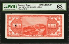 BRAZIL. Banco do Brasil. 500 Mil Reis, ND (1923). P-122Ap2. Back Proof. PMG Choice Uncirculated 63.