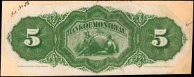 CANADA. Bank of Montreal. 5 Dollars, ND. CH #505-38-02p. Back Proof. About Uncirculated.