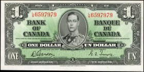 CANADA. Bank of Canada. 1 Dollar, 1937. P-58d. Choice About Uncirculated.