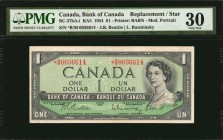 CANADA. Bank of Canada. 1 Dollar, 1954. P-75b/RA5 (BC-37bA-i). Replacement/Star. PMG Very Fine 30.