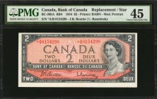 CANADA. Bank of Canada. 2 Dollars, 1954. P-76b/RB4 (BC-38bA). Replacement/Star. PMG Choice Extremely Fine 45.