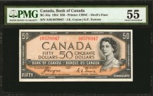 CANADA. Bank of Canada. 50 Dollars, 1954. BC-34a. PMG About Uncirculated 55.