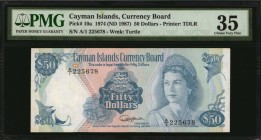 CAYMAN ISLANDS. Currency Board. 50 Dollars, 1974 (ND 1987). P-10a. PMG Choice Very Fine 35.