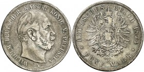 1874. Alemania. Prusia. Guillermo I. Berlín. 5 marcos. (Kr. 503). 27,37 g. AG. MBC-.