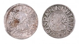 1612. Felipe III. Barcelona. 1/2 croat. 2 monedas. MBC-/MBC+.
