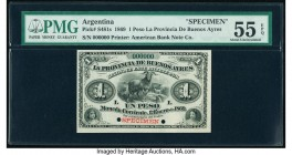 Argentina Provincia de Buenos Ayres 1 Peso 1869 Pick S481s Specimen PMG About Uncirculated 55 EPQ. Red Specimen overprint; two POCs.  HID09801242017  ...