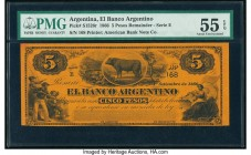 Argentina Banco Argentina 5 Pesos 1.9.1866 Pick S1526r Remainder PMG About Uncirculated 55 EPQ.   HID09801242017  © 2020 Heritage Auctions | All Right...