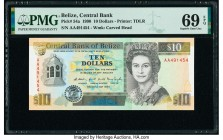Belize Central Bank 10 Dollars 1.5.1990 Pick 54a PMG Superb Gem Uncirculated 69 EPQ.   HID09801242017  © 2020 Heritage Auctions | All Rights Reserve