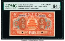 China Bank of China 1 Dollar or Yuan 1918 Pick 51bs Specimen PMG Choice Uncirculated 64 EPQ. Red Specimen overprints; two POCs.  HID09801242017  © 202...