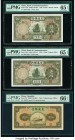 China Bank of Communications 5 Yuan 1935 (2); 1941 Pick 154a (2); 157 S/M#C126-242 Three Examples PMG Gem Uncirculated 65 EPQ (2); Gem Uncirculated 66...