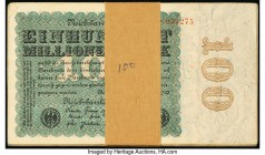 Germany Reichsbanknote 100 Millionen Mark 1923 Pick 107 Ninety-Four (94) Examples Very Fine-Crisp Uncirulated. Edge stains.  HID09801242017  © 2020 He...