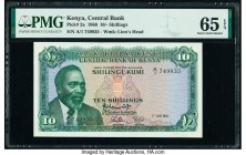 Kenya Central Bank of Kenya 10 Shillings 1.7.1966 Pick 2a PMG Gem Uncirculated 65 EPQ.   HID09801242017  © 2020 Heritage Auctions | All Rights Reserve...