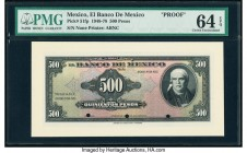 Mexico Banco de Mexico 500 Pesos 19.1.1953 Pick 51fp Front Proof PMG Choice Uncirculated 64 EPQ. Three POCs.  HID09801242017  © 2020 Heritage Auctions...