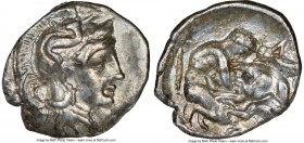 CALABRIA. Tarentum. Ca. 380-280 BC. AR diobol (13mm, 9h). NGC XF. Ca. 325-280 BC. Head of Athena right, wearing crested Attic helmet decorated with fi...
