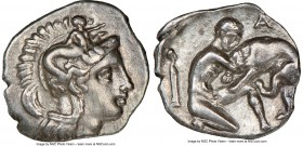 CALABRIA. Tarentum. Ca. 380-280 BC. AR diobol (13mm, 6h). NGC XF. Ca. 325-280 BC. Head of Athena right, wearing crested Attic helmet decorated with fi...