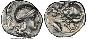 CALABRIA. Tarentum. Ca. 380-280 BC. AR diobol (12mm, 6h). NGC VF, scuff. Head of Athena right, wearing crested Attic helmet decorated with three flore...