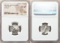 LUCANIA. Metapontum. Ca. 330-280 BC. AR stater (19mm, 1h). NGC Choice VF. Dori- and Da-, magistrates. Head of Demeter left, wreathed with grain; ΔΩPI ...