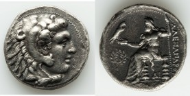 MACEDONIAN KINGDOM. Alexander III the Great (336-323 BC). AR tetradrachm (26mm, 16.84 gm, 8h). Choice VF, porosity. Late lifetime-early posthumous iss...