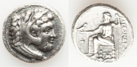 MACEDONIAN KINGDOM. Alexander III the Great (336-323 BC). AR tetradrachm (26mm, 16.61 gm, 11h). Choice VF, porosity, scratches. Lifetime issue of 'Bab...