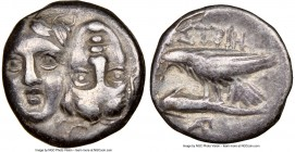 MOESIA. Istrus. Ca. 4th century BC. AR drachm (18mm, 9h). NGC VF. Two facing male heads; the right inverted / IΣTPIH, sea-eagle left, grasping dolphin...