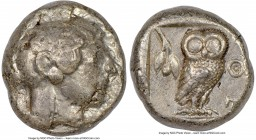 ATTICA. Athens. Ca. 510/500-480 BC. AR tetradrachm (22mm, 17.05 gm, 1h). NGC Choice VF 2/5 - 3/5. Head of Athena right, wearing crested Attic helmet, ...