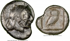 ATTICA. Athens. Ca. 510/500-480 BC. AR tetradrachm (26mm, 16.54 gm, 11h). NGC VF 2/5 - 3/5, flan flaw. Head of Athena right, wearing crested Attic hel...