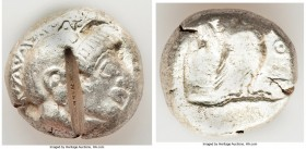 ATTICA. Athens. Ca. 510/500-480 BC. AR tetradrachm (22mm, 17.17 gm, 12h). Fine, test cut. Head of Athena right, wearing crested Attic helmet, the cres...