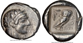 ATTICA. Athens. Ca. 475-465 BC. AR tetradrachm (23mm, 17.23 gm, 4h). NGC Choice VF 5/5 - 4/5. Head of Athena right with frontal eye and 'archaic smile...