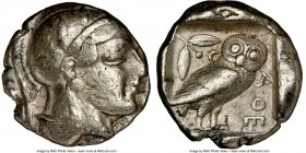 ATTICA. Athens. Ca. 465-455 BC. AR tetradrachm (25mm, 17.11 gm, 9h). NGC VF 4/5 - 3/5. Head of Athena right, wearing crested Attic helmet ornamented w...
