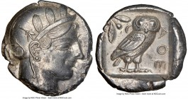 ATTICA. Athens. Ca. 440-404 BC. AR tetradrachm (25mm, 17.21 gm, 11h). NGC Choice AU 5/5 - 4/5. Mid-mass coinage issue. Head of Athena right, wearing c...