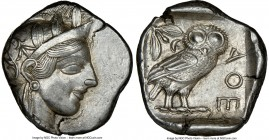 ATTICA. Athens. Ca. 440-404 BC. AR tetradrachm (25mm, 17.20 gm, 8h). NGC Choice AU 4/5 - 4/5. Mid-mass coinage issue. Head of Athena right, wearing cr...