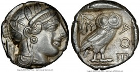 ATTICA. Athens. Ca. 440-404 BC. AR tetradrachm (24mm, 17.19 gm, 11h). NGC AU 5/5 - 4/5. Mid-mass coinage issue. Head of Athena right, wearing crested ...