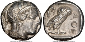 ATTICA. Athens. Ca. 440-404 BC. AR tetradrachm (23mm, 17.12 gm, 7h). NGC AU 5/5 - 4/5. Mid-mass coinage issue. Head of Athena right, wearing crested A...